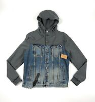 Cult of Individuality Heritage Denim Hooded Jean Jacket Mens Large Gray Blue
