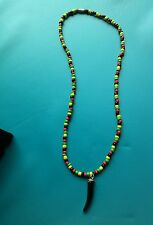 ALSC Stunning Rasta Hematite and Seed Beads Horn Pendant Handmade Necklace 22""