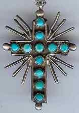 VINTAGE Zuni indiano argento turchese & corallo a due lati reversibile