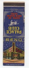 1940s Casino Advertising Matchbook for the Palace Club Casino Reno NV