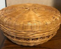Unique Vintage Wicker Bowl/Decorative Basket with Matching Removable Lid