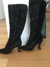 VTG ANNE KLEIN COUTURE BLACK CrUSHED VELVET TALL BOOTS ITALY Sz6