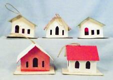 5 Vintage Christmas House Tree Ornaments Cardboard Pink White Green Japan #30