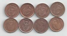 8 DIFFERENT 5 CENT COINS from SOUTH AFRICA with CONSECUTIVE DATES of 2004-2011