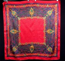 "Large Vintage 1980'S Silk Satin Red With Vivid Paisley Design Scarf ""36W X36""L"