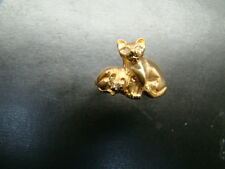 ADOREABLE 14k Gold Cat and Kitten ring with genuine diamonds and antique finish