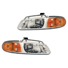 Fits 2000 Chrysler Dodge Plymouth Driver + Passenger Headlight Assembly 1 Pair