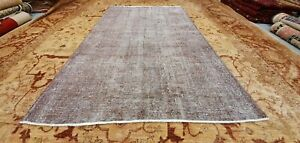 "Antique 1930-1940's Distressed Wool Pile Overdyed Oushak Area Rug 5'4""×8'8"""