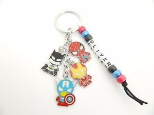 Personalised Any Name 4 Charm ~ Superhero Keyring Gift School Bag Tag Charm