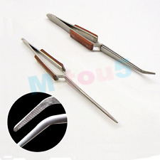2 PACK CROSS LOCK TWEEZERS SELF CLOSING FIBER GRIP SET OF BENT & STRAIGHT TIP