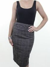 Wool Blend Check Straight, Pencil Casual Skirts for Women