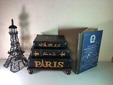 3 Decorative Paris Faux Book Box Storage Canvas Over Wood-Eiffel Tower-Paris