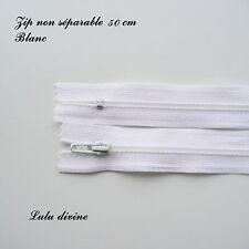 Zip / Fermeture éclair simple non séparable de 50 cm : Blanc