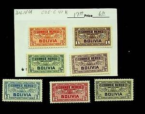 BOLIVIA AIRMAIL SET OF 7 MINT STAMPS #C35-41 CV $17