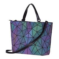 丨 Geometric Luminous and Handbags for Women Holographic Reflective Crossbody Bag