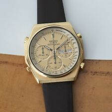 Seiko Chronograph Quartz 7A38-7000 Gold Tone Running Great 40mm Brown Leather