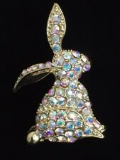 GOLD AB RHINESTONE SPRING DUCK STANDING EASTER BUNNY RABBIT PIN BROOCH JEWELRY