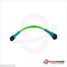 Shakmods 3 pin Fan Green Sleeved 15cm Computer Hand Sleeved Extension Cable UK