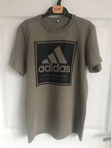 Kids Khaki Green ADIDAS Short Sleeve Logo T Shirt -  Approx Age 12yrs