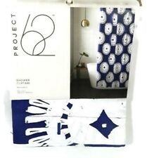 Project 62 Shower Curtain Navy Blue Medallion 72 x 72 Bath Fabric New