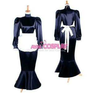 Sissy black maid long satin dress Tailor-Made
