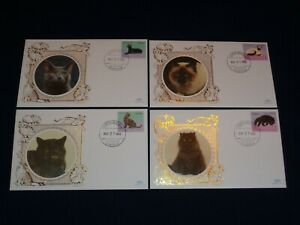 1998 Angola Benham Cats 4 Different Silk FDC Cover Collection Handstamp
