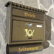 XXL Briefkasten Postkasten Altgold + Zeitungsrolle Katalogeinwurf Nostalgie Neu