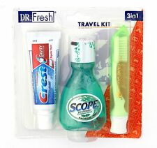 Dr Fresh Dental Travel Kit Crest Toothpaste Scope Mouthwash Toothbrush with Case