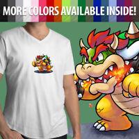 Nintendo Super Mario Bros Boss Villain Bowser King Koopa Mens Tee V-Neck T-Shirt