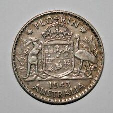 1943 Australian Silver TWO Shilling Florin (TWO BOB) KING GEORGE VI  (very Nice)