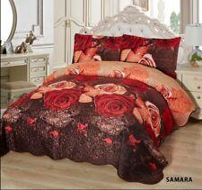 3-Pcs California King Quilted Reversible VELVET Bedspread Coverlet Set - SAMARA