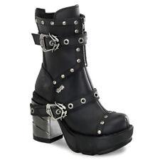 "*Demonia 3.5"" Platform Chromed Block Heel Buckle Strap Stud Boots Goth Moto 9"