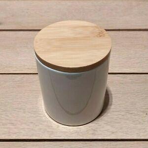 77L White Ceramic Food Storage Jar with Wooden Lid 300ml 10cm High 8.5cm Wide