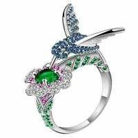 Gorgeous Jeweled Hummingbird Ring - Ginger Lyne Collection Size 7.5
