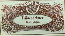 1870's-80's Rudesheimer Hinterhaufer, Wine Bottle Label Vintage Original F101