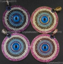 Zircon Gemstone Pave Turquoise Lucky Eye Pendant Bracelet Connector Charm Beads