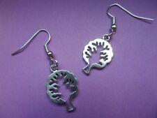 NEW! Tree Cut out / Tree of life - Tibetan Silver Earrings in organza bag