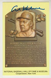 Al Kaline Autographed Yellow Hall of Fame Plaque Card