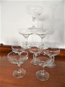 Set x 8 Vintage Retro Open Style Champagne Wedding Party Glasses Prism Stem