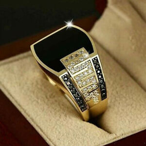 Men's 18K Yellow Gold White Sapphire Ring Punk Classic Luxury Jewelry Size 7-13
