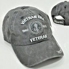 Vietnam Era Veteran Grayish/Black Military Cap Hat Low Profile 100% Cotton New