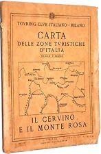 """Carta stradale Touring Club Italiano """"Il Cervino e il Monte Rosa"""" anni '50"""