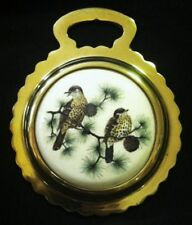 NEW WOOD THRUSH TWO BIRDS Ceramic Horse Brass BIRD LOVER Gift! WOW YOUR WALLS!