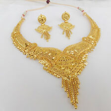 Indian Bollywood Fashion Ethnic Bridal Gold Plated Jewelry Necklace Earrings Set