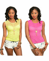 Womens Neon Yellow Pink Sleeveless Top Necklace Crinkle Knit Sheer Mesh Neckline