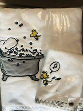 Pottery Barn Peanuts Bath Towel And Washcloth 2 Set White Snoopy Bath Woodstock