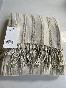 H&M White Green Stripe Chenille Throw 130 X170cm Brand New
