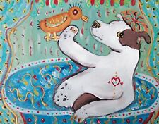 American Pit Bull Terrier in a Bath Dog Outsider Art Pop 8 x 10 Signed Print
