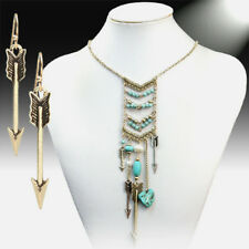 INDIAN BREAST WARRIOR BEAD BAR NECKLACE SET TURQUOISE ARROW PEARL STONES LONG