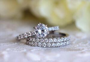 1.85Ct White Round Cut Diamond Engagement Wedding Bridal Ring Set In 925 Silver